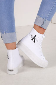 Calvin Klein - Plateau Sneaker high - White + Black + Grey