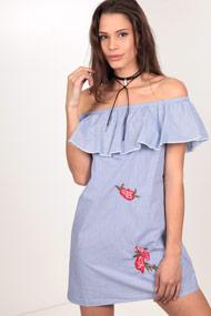 Only - Off Shoulder Kleid - White + Blue