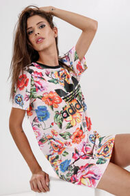 adidas Originals - T-Shirt-Kleid - Rose + Multicolor