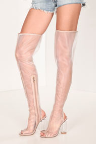 Cape Robbin - Bottes overknee - Transparent + Beige