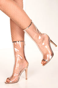 Cape Robbin - Bottines peeptoe - Transparent + Gold