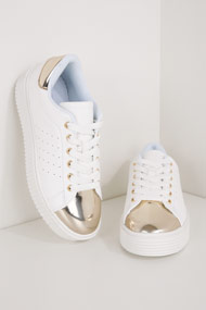 Cape Robbin - Sneakers plateforme basses - White + Gold