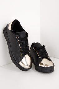 Cape Robbin - Sneakers plateforme basses - Black + Gold