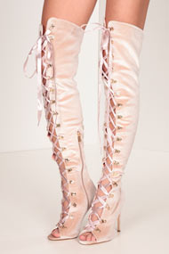 Cape Robbin - Bottes overknee en velours - Dust Rose