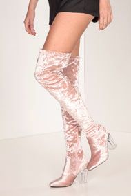 Cape Robbin - Bottes overknee en velours - Old Rose