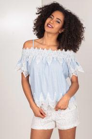 Ivivi - Off Shoulder Bluse - Light Blue + White