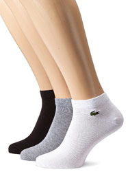 Lacoste - Dreierpack Socken - Black + White + Heather Grey