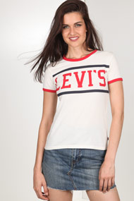 Levi's - T-Shirt - Offwhite + Red + Navy Blue
