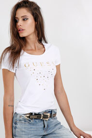 Guess - T-Shirt - White + Gold