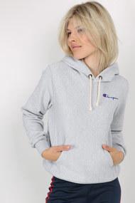 Champion - Kapuzensweatshirt - Heather Grey + Royal Blue