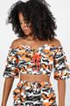 36Point5 - Off Shoulder Bluse - Orange Camouflage