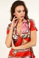 Glamorous - Crop Bluse - Pink + Red