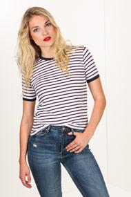 Ruby Tuesday - T-Shirt - White + Navy Blue + Bordeaux