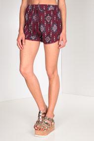 Ruby Tuesday - High Waist Shorts - Bordeaux + Multicolor