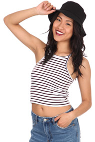 Ruby Tuesday - Crop Top - White + Bordeaux + Navy Blue