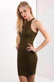 LA SHADY - Geripptes Bodycon Kleid - Olive Green