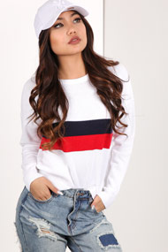 Ruby Tuesday - Strickpullover - White + Navy Blue + Red