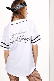 LA SHADY - Baseball Hemd - White + Black