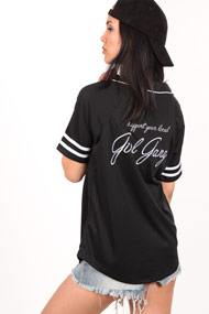 LA SHADY - Chemise de baseball - Black + White