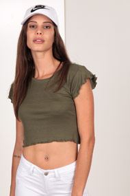 Ruby Tuesday - Geripptes T-Shirt - Olive Green