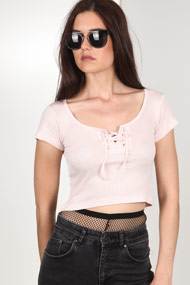 LA SHADY - T-Shirt court en ripp - Rose