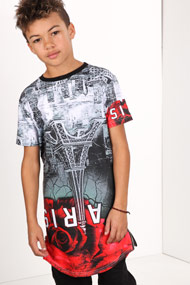 45 RPM - Long T-Shirt - White + Red + Black