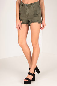 LA SHADY - Short taille haute - Olive Green