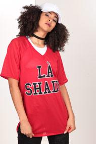 LA SHADY - Mesh T-Shirt - Red + Black