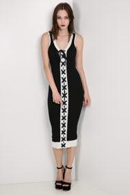 Missue - Geripptes Bodycon Kleid - Black + Offwhite